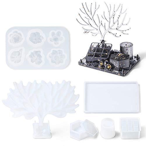 MoneRffi 7 moldes de resina de maquillaje de ciervo, moldes de epoxi,...