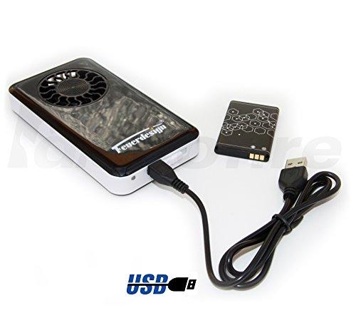 Feuerdesign Ersatz-Lüftermodul (Aktuelles Modell) für rauchfreie Holzkohle Tischgrills inkl. Akku und USB-Ladekabel