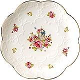 ADSE Plato de Postre de Porcelana China de 3 Piezas, Plato de cerámica para el Desayuno, té de la Tarde, Rosas Rosadas (6 Pulgadas)