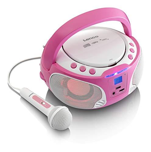 Lenco SCD-650 - Kinder CD-Player - CD-Radio - Karaoke Player - Stereoanlage - Boombox - CD/MP3 und USB Player - 2 x 2 W RMS-Leistung - Sing-A-Long Funktion - Mikrofon - Rosa