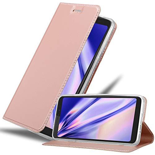 Cadorabo Hülle für WIKO View XL in Classy ROSÉ Gold - Handyhülle mit Magnetverschluss, Standfunktion & Kartenfach - Hülle Cover Schutzhülle Etui Tasche Book Klapp Style