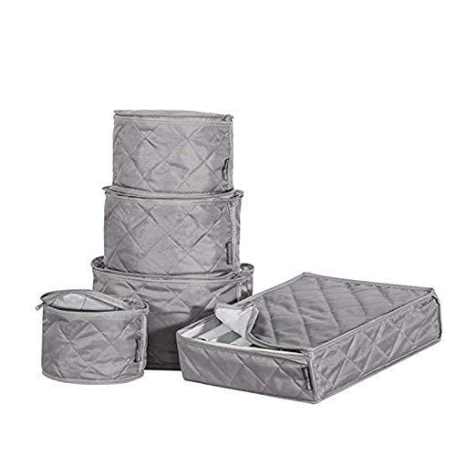 Estuche de almacenamiento para tazas y platos Chinaware a prueba de polvo, juego de bolsas para vajilla de té, vino, porcelana fina, fundas protectoras de platos, 5 piezas gris