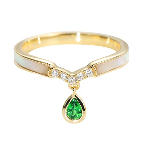 AueDsa Ring Gold Wedding Ring for Women Gold 18K Tsavorite Ring with Teardrop Charms Ring Size J 1/2