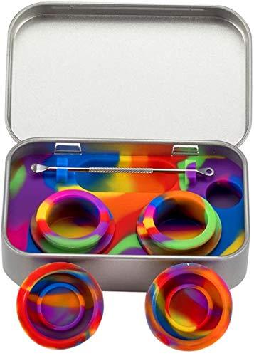 Bong - Caja de lata portátil de acero inoxidable de 2 a 5 ml de silicona para aceite, cera o aceite, caja de humo de silicona, pipa de cuchara para cigarrillos, arco iris