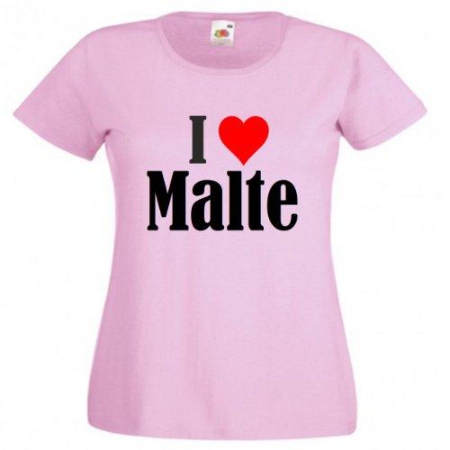 Camiseta 'I Love Malte para mujer, hombre y niños en los colores negro, blanco y rosa. rosa XXL