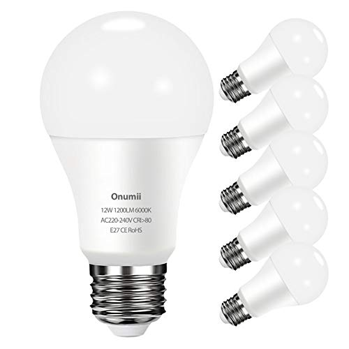 Bombilla LED E27 12W, 1200 lúmenes equivalente a 100W, Luz Blanca Fría 6000K, No Regulable, Pack de 6