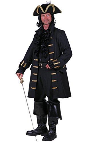 Piraten-Mantel in schwarz | hochwertiger Piraten-Gehrock | Piraten-Kostüm für Herren (XL)