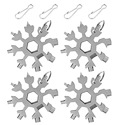 18-in-1 Snowflake Stainless Steel Multi Tool,Portable Snowboarding Screwdriver Compact Snowflakes Multitool,Incredible Snowflake Tool for Bottle Opener/Outdoor Camping/Keychain,Great Christmas Gift.
