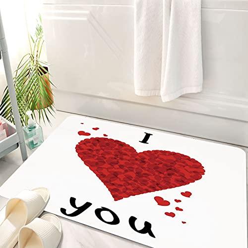 Alfombra de baño, Alfombra Absorbente Antideslizante, I Love You, Love Bouquet Shape Abstract Heart Vivid My Dear Friendship Afecto, Alfombra de baño de Microfibra esponjosa, avable a máquina 50x80 cm