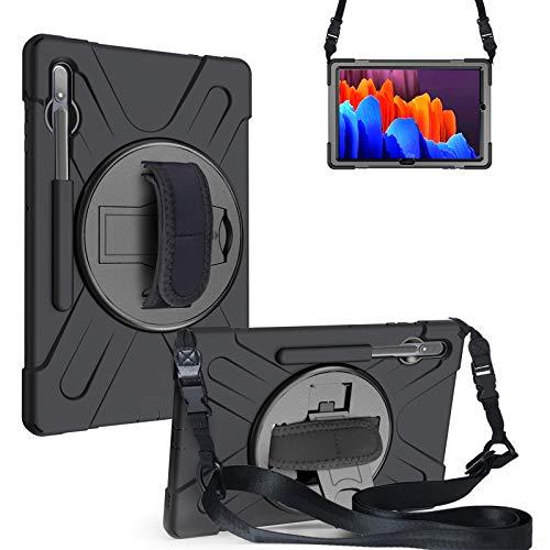 Funda para Galaxy Tab S7 Plus 12.4-Pulgadas 2020 (SM-T970/T975/T976), Cubierta Protectora Completa a Prueba de Golpes de Tres Capa con 360° Rotativo Soporte, Correa de Mano/Hombro,Black