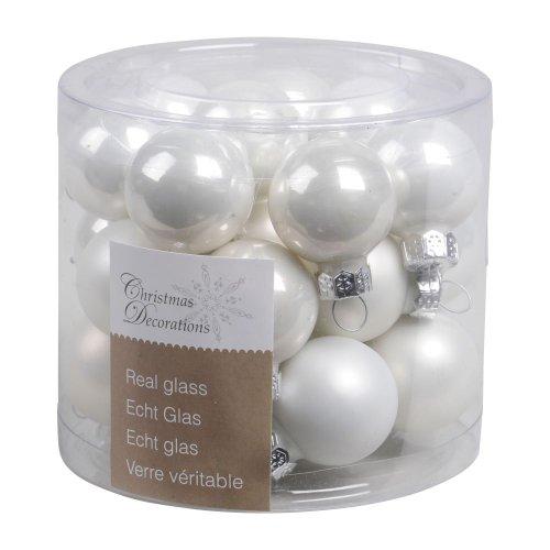 Kaemingk - Mini palline di Natale, 2,5 cm, vetro lucido/opaco, 24 pezzi, colore: Bianco