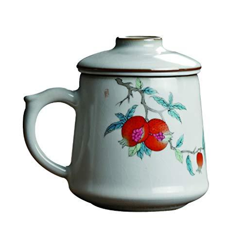 Tazas Estilo chino 420ML personal portátil Separación elaboración de la cerveza del té taza de té de agua exquisita elaboración de té de cerámica Cup Copa de oficina con Infusor y la tapa Tazas de Caf