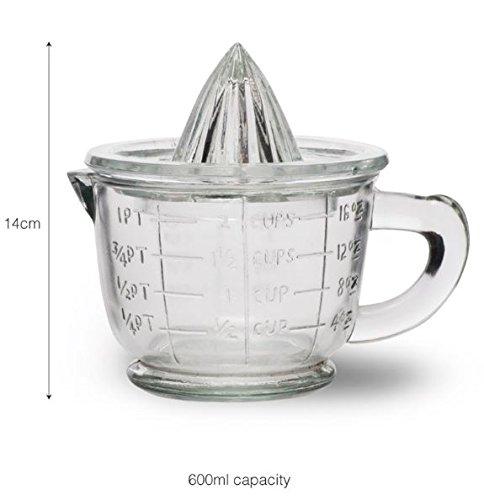Traditional Glass Juicer Presse-Citron Presse-Agrumes Manuel Fruits Presse-Citron avec bol Centrifugeuse Tamis - 1 Pint 600ml -La façon idéale de presser les oranges fraîches, le citron ou la lime