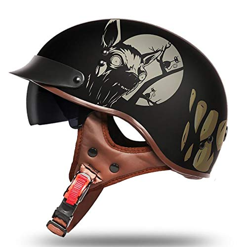 Evin Harley Halbhelm DOT Certified Handgemachte Persönlichkeit Retro Harley Peas Helm Erwachsener Motorrad Halbhelm Schutzgerät mit Schutzbrille,Wolf Teeth,XL