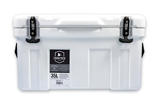 Currituck Heavy Duty Cooler by Camco- Perfect as a Boat Cooler and For Hunting, Hiking, Camping, Fishing, The Beach and More 37 Quarts (White) (51873)
