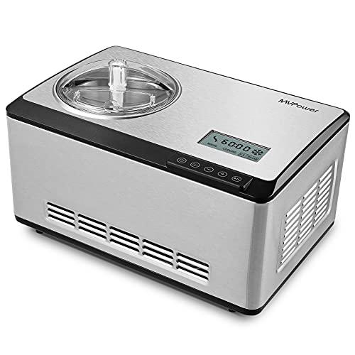 MVPower Gelatiera 2L, Macchina del Gelato con 180W Compressore Autoraffreddante, Gelatiera Automatica, Display LCD,...