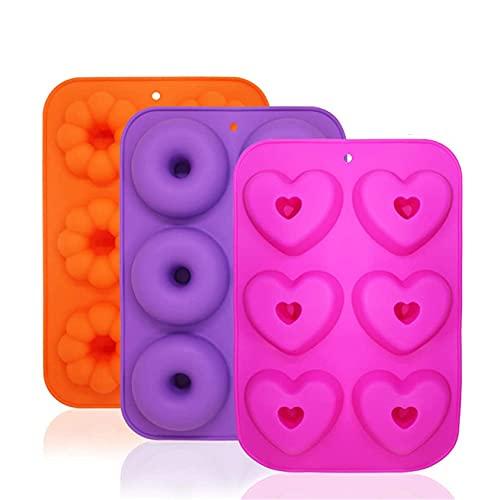 Molde de la torta de flores en forma de corazón de la dona de silicona de 6 piezas, molde creativo de bricolaje, molde de silicona de muffin, molde de postre