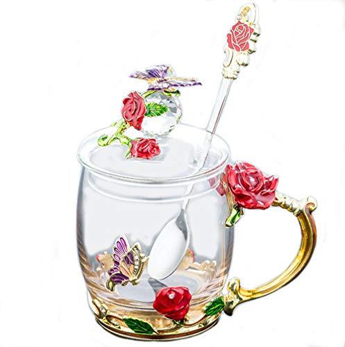 YUEMING vidrio Taza con asa Pared de Vidrio de Borosilicato,Resistente al Calor Tazas de café Taza téLeche,Taza de té con tapa Taza de cafe con cuchara Taza rosa mariposa (Rojo + 320ml)