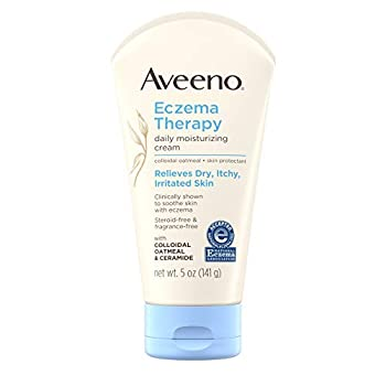 Aveeno Eczema Therapy Daily Moisturizing Cream for Sensitive Skin Soothing Lotion with Colloidal Oatmeal for Dry Itchy and Irritated Skin Steroid-Free and Fragrance-Free 5 oz