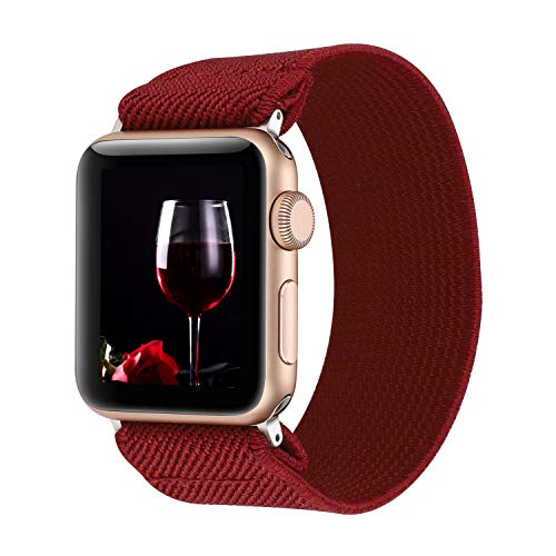 WONMILLE Compatible with Apple Watch Scrunchie Band 38mm/40mm Series 5/4, Stretchy Loop Nylon Elastic Bracelet Wristbands for iWatch 42mm/44mm Strap Accessories (Wine Red, 42mm/44mm)