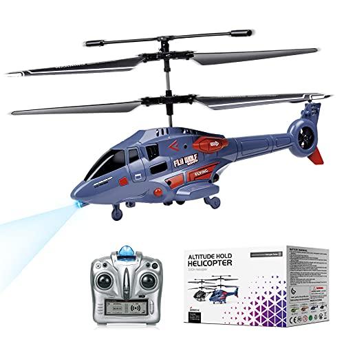 Helicóptero de Control Remoto con Giroscopio y Luces LED de 2,4G, Helicóptero de Altitud Fija de 3,5 Canales, Despegue/Aterrizaje con un botón, Drone para Interiores, Niños y Adultos de Regalo, Azul
