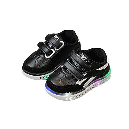 RZJF Kinder Helle LED-Turnschuhe, Glänzend Mode Schuhe Mit Aufkleber Normallack Zum Ausgehen Boden Turnschuhe Geeignet Blinken,Schwarz,24