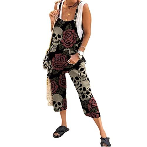 Mono de Halloween con estampado de calaveras para mujer, suelto, oversize, estilo vintage, casual, con bolsillos, rosso, M