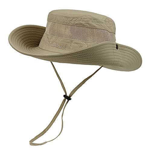 Fishing Hats for Men Women Wide Brim Mens Summer Sun Hats Bucket Boonie Cap Outdoor Khaki