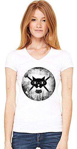 Black Cat Pirates Logo T-shirt col V de la femme Small