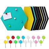 HonGien Tablón de anuncios hexagonal de fieltro autoadhesivo de color corcho con 16 pasadores de empuje, para mostrar notas de dibujo, decoración colorida de la pared
