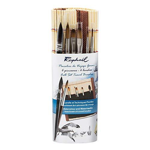 Raphael Surtido de 6pinceles acuarela de viaje–pincelier en bambú