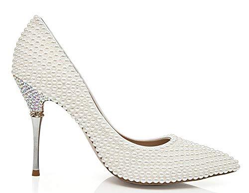Mode Damen hochhackige Schuhe, Spitze Zehen feine Ferse Prinzessin Stil Perle Braut Brautjungfernschuhe, Cocktail Party Abendkleid Schuhe-White-36