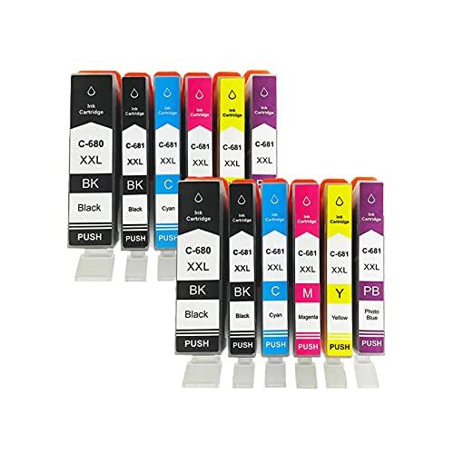 RICR Reemplazo de Cartucho de Tinta remanufacturado para Canon PGI-680XXL CLI-681XXL para Usar con PIXMA TR7560 TR8560 TS6160 TS8160 TS9160 Impresora Two Sets