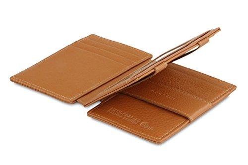 Garzini Magic Wallet, RFID Geldbeutel für Herren aus echtem Leder mit Platz für 14 Karten mit Münzfach, Mini Geldbörse als Geschenk für Männer, Cognac Brown
