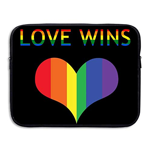 Laptop Sleeve Bag Colorful Rainbow I Love Wins 15 Inch BriefSleeve Bags Cover Notebook Waterproof Portable Messenger Bags