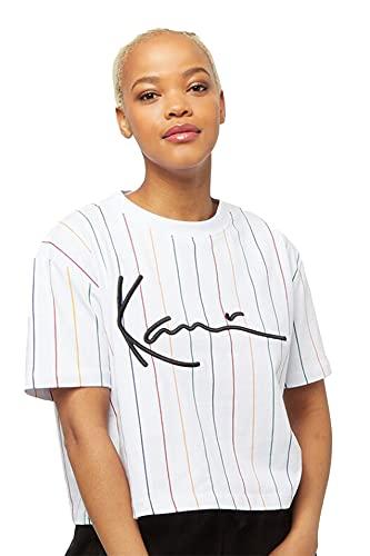 Karl Kani Signature Pinstripe Tee T-Shirt Damen Crop Wide (weiß, M)