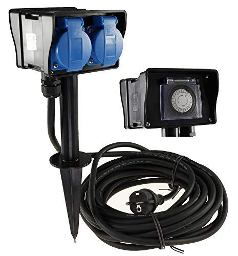 Gartensteckdose 2-fach Steckdosenblock mit Zeitschaltuhr 2x Steckdosen 10Meter Kabel Erdspieß IP44 230V Aussen-Steckdose zugelassen für den dauerhaften Einsatz im Aussenbereich