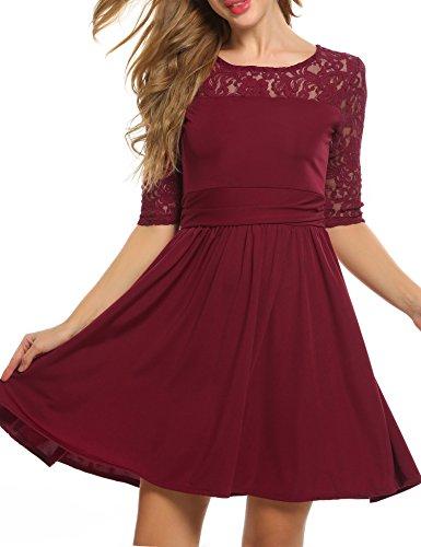 Zeagoo Damen 3/4 Ärmeln Abschlusskleider A-Linie Kleid Rundhals Partykleid Ballkleid mit Spitze