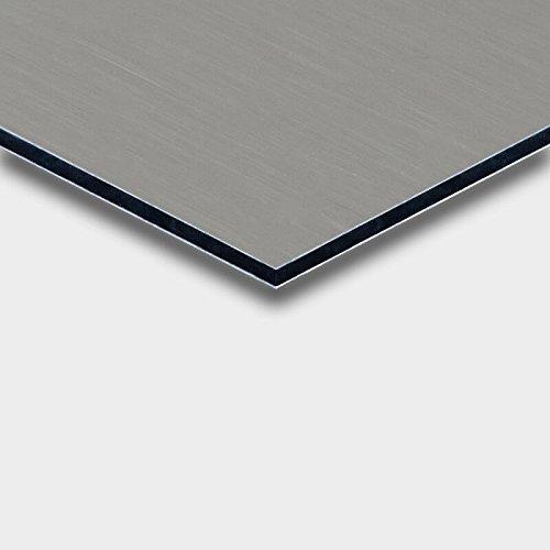 Alu DIBOND® Platte Bulterfinish Edelstahl gebürstet für Werbetafeln, Beschilderung, Displays, Messebau, Maße: 50 x 25 cm, Stärke: 3 mm