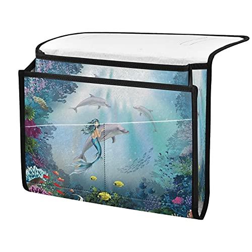 Organizador de almacenamiento para mesita de noche, delfines marinos, sirena, junto a la caja, organizador de almacenamiento para mandos a distancia gafas de teléfono