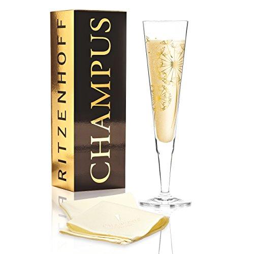 RITZENHOFF Champus Champagnerglas von Andrea Hilles, aus Kristallglas, 200 ml, mit edlen Goldanteilen, inkl. Stoffserviette