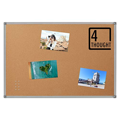 4 THOUGHT Cork Bulletin Board 36 x 24 Inches, Notice Pin Cork Board for Walls, Memo Board with Silver Aluminium Frame for Display and Organize Office or Classroom, 3 x 2 Feet, 10 Push Pins Included