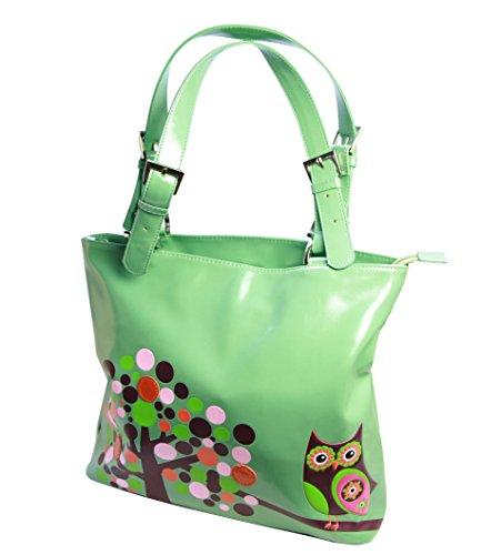 Shagwear Junge-Damen Handtasche, Shopper, Large Tote Bag:Verschiedene Farben und Designs: (Eule Hell-Türkis/ Retro Owl)