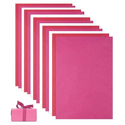 KONUNUS 90 Blatt Seidenpapier Rosa Rot weiß Geschenkpapier Packpapier Papier 50cm x 30cm Tissue Paper für Diy Valentinstag Geburtstag Geschenk Bastelarbeit Geschenkverpackung Blumenverpackung