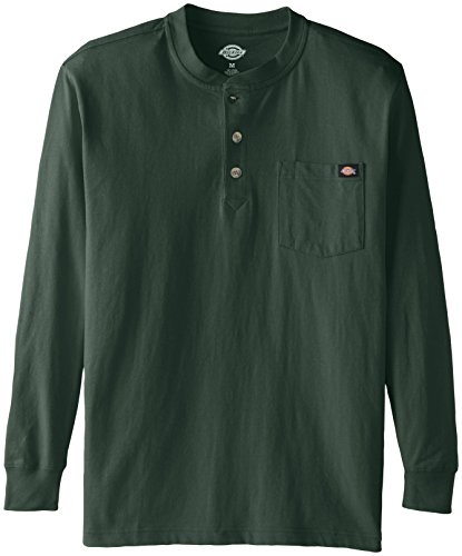 Dickies Men's Long Sleeve Heavyweight Henley, Hunter Green, Large