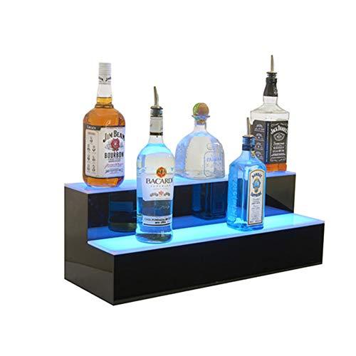 NDHENG Acryl 2 Tier Beleuchtetes Weinregal LED Bunte Lichteffekte Home Bar Dekoration für Hochzeit Weihnachtsfeier, Club, Bars Flaschenregal Kreative Weinglas Dekoration