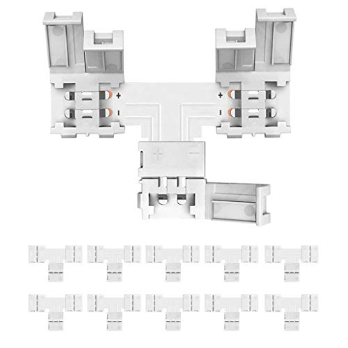 Yayza! 10 er-pack 2 Pins 8mm Lötlos LED-Streifen-Verbindungsstück-Schnellverteiler-Leiter Nicht-wasserdicht für 3528 2835 335 einzelne Farben-Streifen - T Form