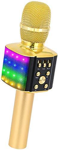 BONAOK Microphone Sans Fil Bluetooth Karaoké avec Lumières LED Coloré, 4 en 1 Karaoké Machine Lecteur Enregistreur Portable Microphone, Cadeau de Noël Enfants pour Android/iOS/PC (Or)