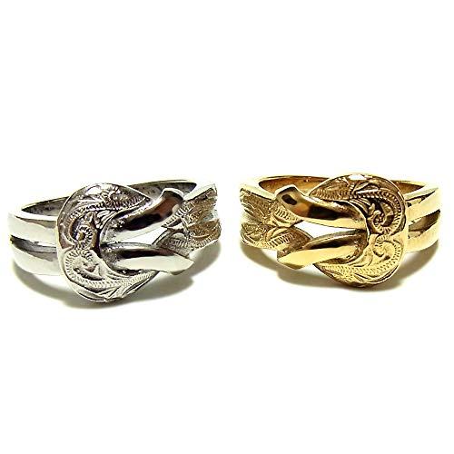 ペアリング ペアハワイアンジュエリー リング 指輪 バックル ベルト サージカルステンレス 花 写真フレーム フラワー シルバー:11号 ゴールド:11号