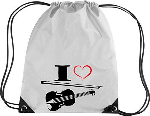 Shirtstown Premium Gymsac Musik I Love Violine Bratsche Geige, Silver